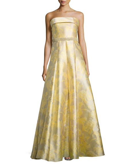 6175600ef642 Carmen Marc Valvo Strapless Floral Printed Ball Gown