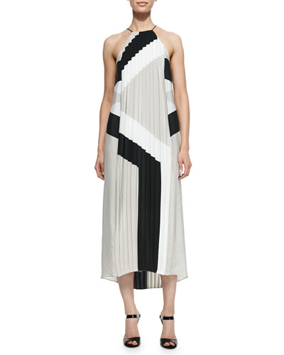 Maritime Printed Pleated Long Silk Dress