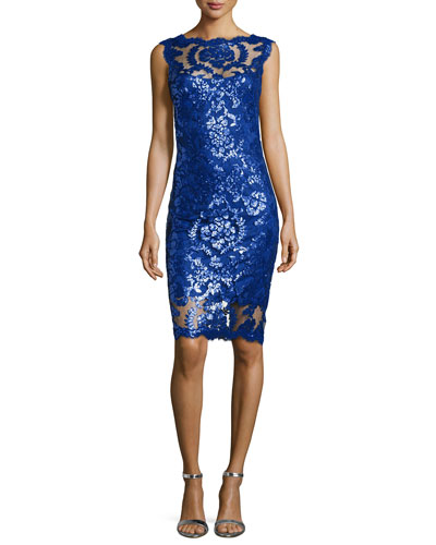 Sequined Lace Overlay Cocktail Sheath Dress, Mystic Blue