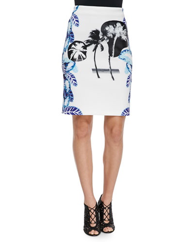 Pelagic Leaf-Print Pencil Skirt