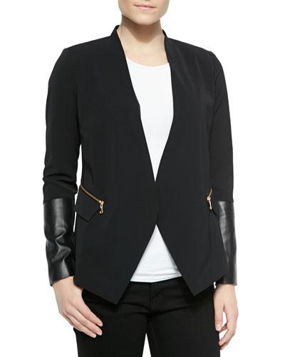 Blazer W/ Leather Inset Sleeves