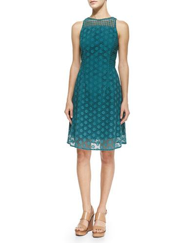 Hallie Circles Eyelet Dress, Pond