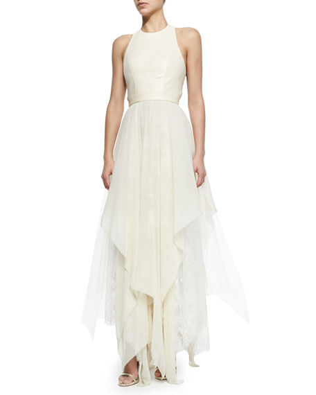 Alice + Olivia Jennifer Gown with Leather Bodice & Handkerchief Hem