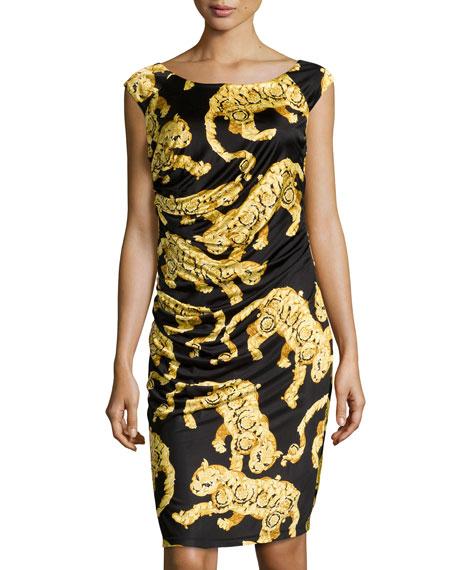 bd50cc6c6bd7 Versace Jaguar-Print Ruched Jersey Dress