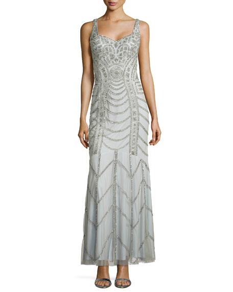 Aidan Mattox Sleeveless Sweetheart Sequined Gown