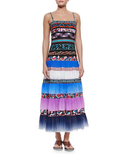 Mixed-Print Pleated Maxi Coverup