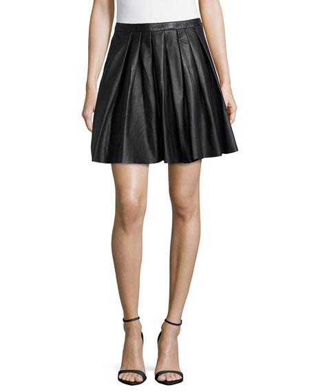 4c4b360cc Nicole Miller Swingy Pleated Leather Skirt