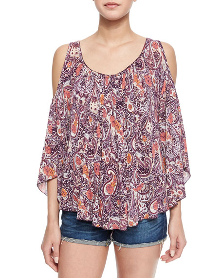 33e654b4d9a69d Free People Paisley-Print Cold-Shoulder Top