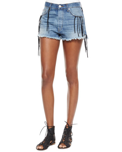Tori Jolie Denim Fringe Cutoffs