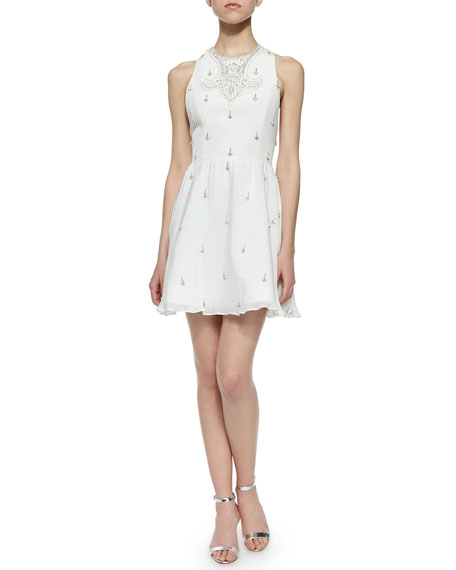 fbf0f7984ee Alice + Olivia Gilda Embellished Lace-Back Dress