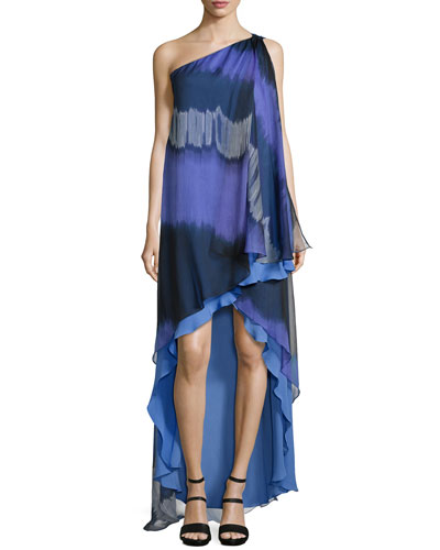 One-Shoulder Striped Ombre Caftan Gown