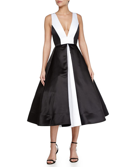 Brennan Deep V Colorblock Dress Black White