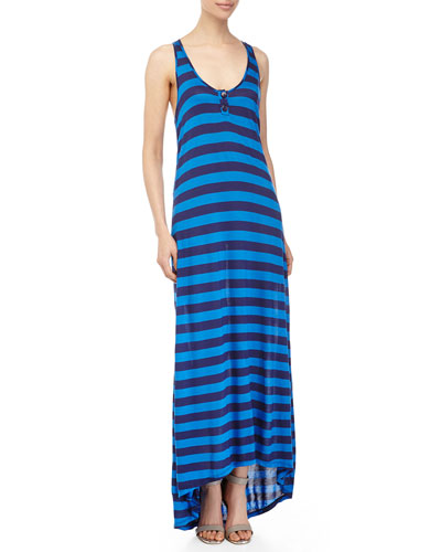 Marcel Stripe Maxi Dress, Navy/Blue