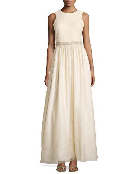 Aidan Mattox Sleeveless Tulle Gown w/ Bead Detail, Light Gold