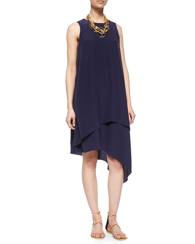 Double-Layer Silk Dress, Midnight