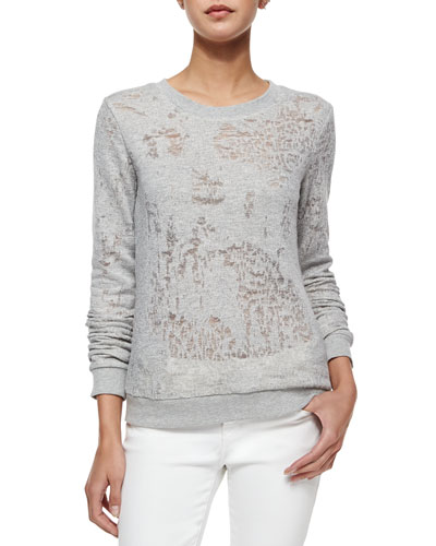 Josette Long-Sleeve Mesh-Trim Sweatshirt, Heather Gray