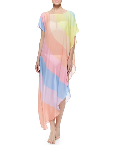 Rainbow-Stripe Long Chiffon Coverup
