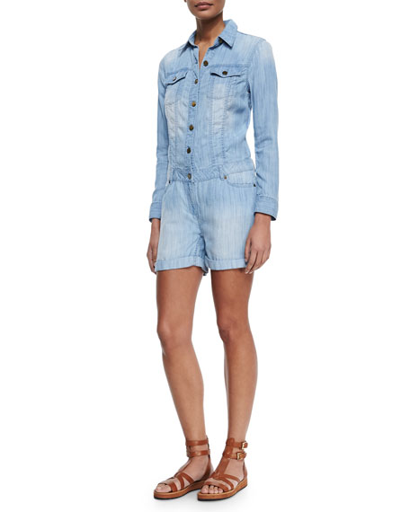 8a2962ada8 MICHAEL Michael Kors Long-Sleeve Chambray Boiler Jumpsuit