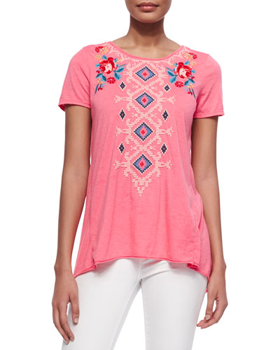Judith Embroidered Draped-Back Tee