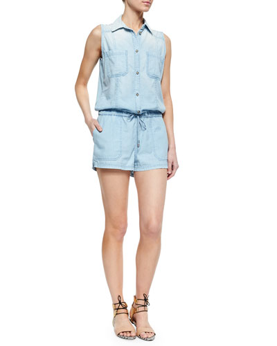 Hollis Sleeveless Romper, Pacific Tide