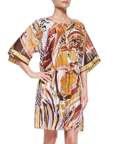 Printed Button-Front Caftan Coverup, Peonia
