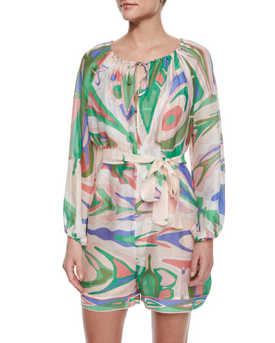 Lance Printed Crinkled Romper Coverup