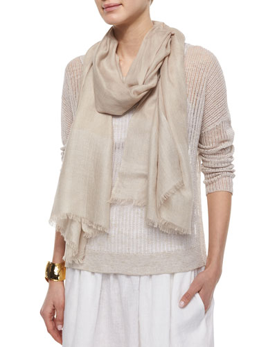 Shine Fringe Scarf, Natural