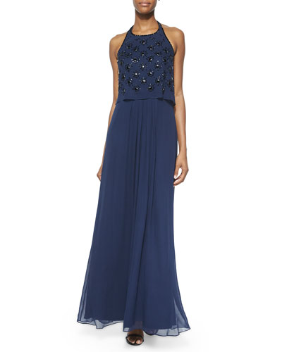 Halter Beaded Bodice Gown