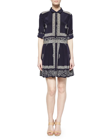 152c08589d2e DKNY Long-Sleeve Bandana-Print Shirt Dress, Ink/Chino