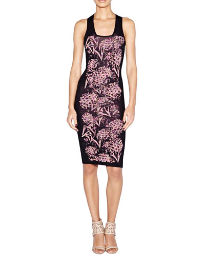Sleeveless Floral-Print Body-Conscious Dress