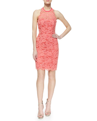 Sleeveless Lace Halter Cocktail Dress