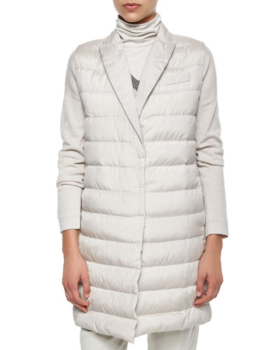 Silk Sleeveless Puffer Jacket, Dove