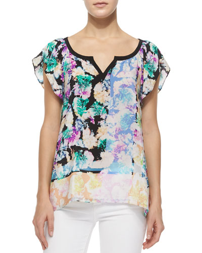 Short-Sleeve Floral-Print Silk Top