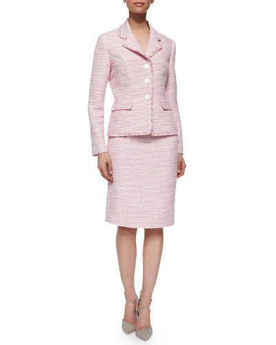 Long-Sleeve Tweed Skirt Suit