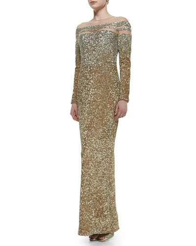 Sheer-Inset Ombre Sequined Gown