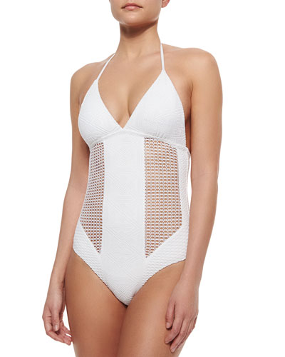 Crochet Halter One-Piece Swimsuit, White