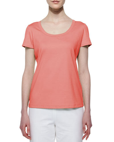 Cotton-Stretch Basic Tee, Bellini