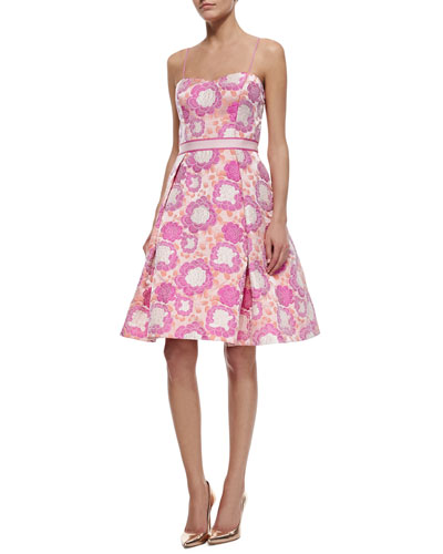 Spaghetti Strap Sweetheart Floral Jacquard Dress