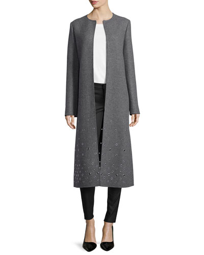 Grommet-Embroidered Coat, Banker