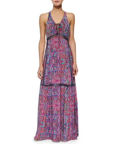 Panama City Printed Lace-Up Maxi Dress