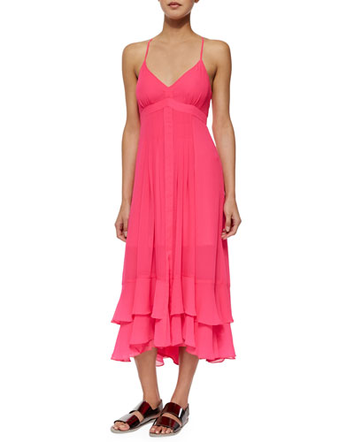 Stargazing Spaghetti Strap Tiered Chiffon Dress