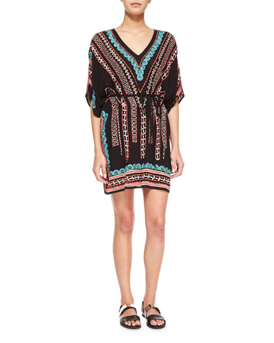 Beachside V-Neck Embroidered Caftan, Black/Multi