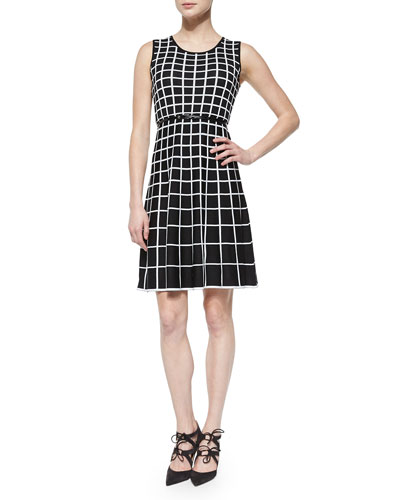Sleeveless Belted Windowpane Fit & Flare Dress