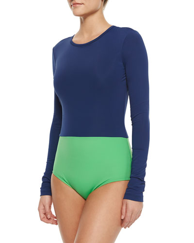 UPF 50 Colorblock Long-Sleeve One-Piece Swimsuit