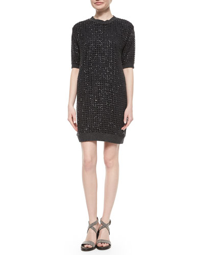 Cashmere Sequined Waffle-Knit Tunic Dress