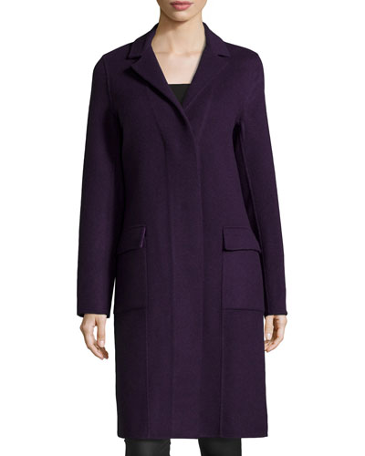 Long-Sleeve Car Coat, Boysenberry