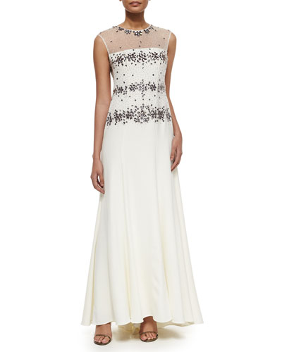 Illusion Beaded Bodice Gown