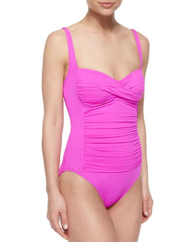 Core Ruched-Center One-Piece Swimsuit, Bright Pink
