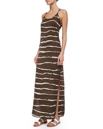 Dip-Dye Striped Maxi Dress