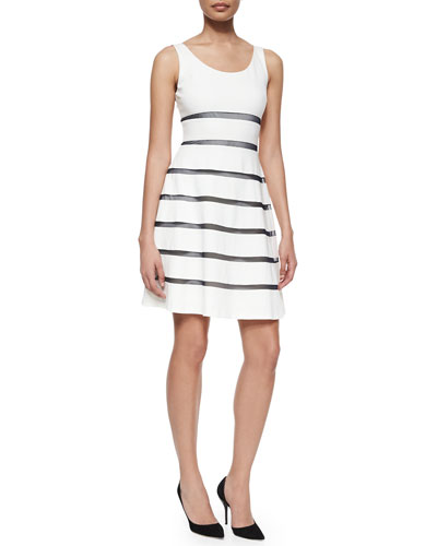 Emmy Sleeveless Striped Ponte Dress